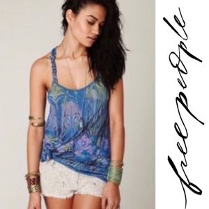 Free People Psychedelic Nouveau Blue Tank Small
